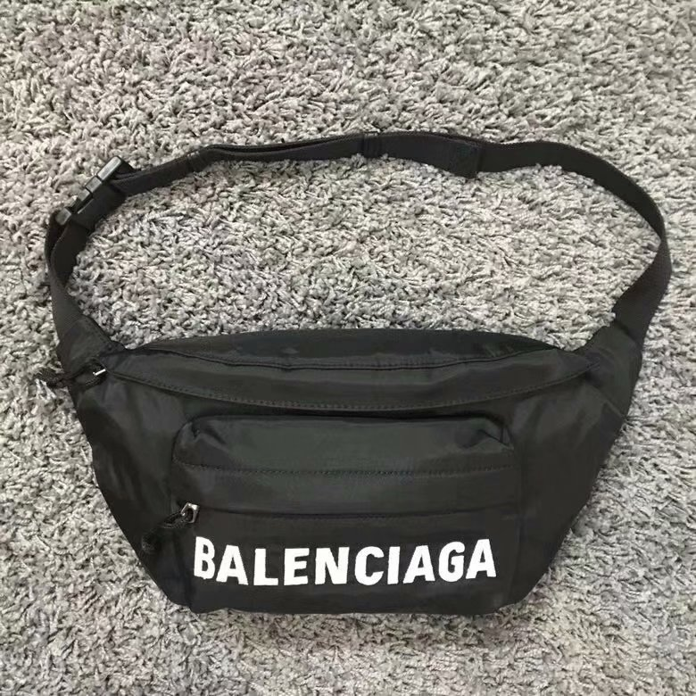 Replica Balenciaga Women Wheel Belt Pack Nylon Belt bag with Contrasting Belt Black