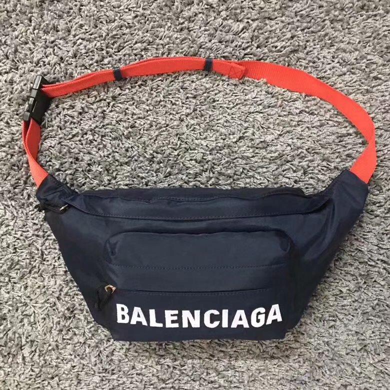 Replica Balenciaga Women Wheel Belt Pack Nylon Belt bag with Contrasting Belt Navy