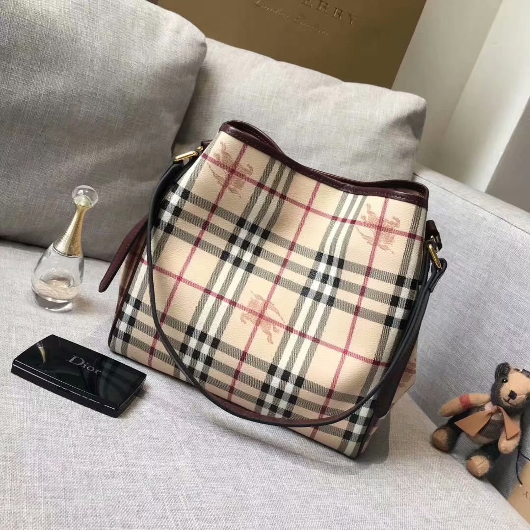 Replica Burberry Check and Leather Women Shopping Bag Brown
