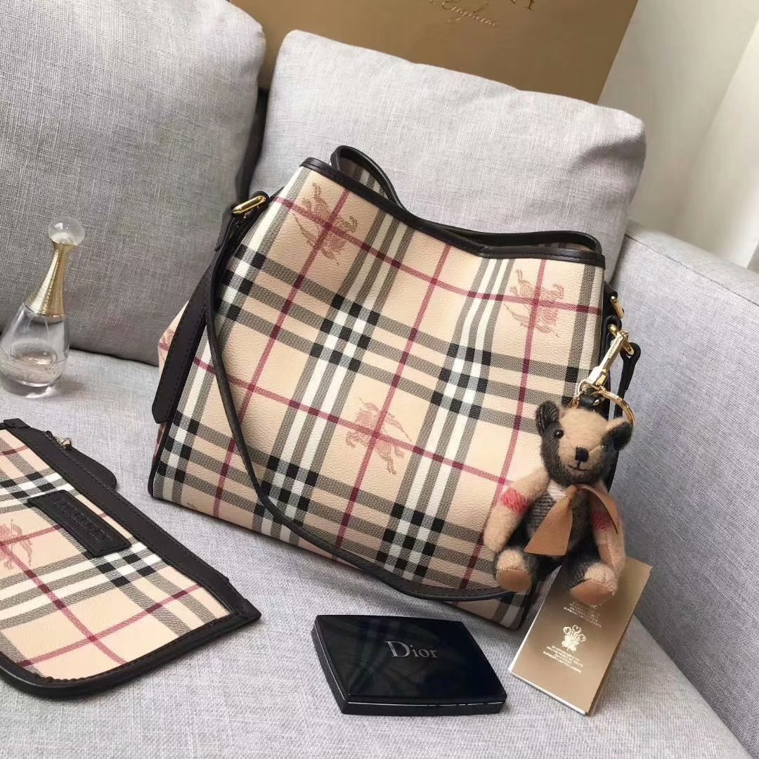 Replica Burberry Check and Leather Women Shopping Bag Coffee