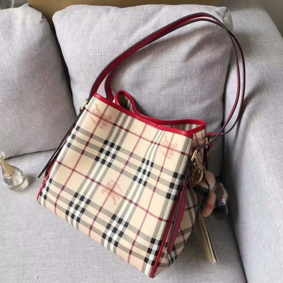 Replica Burberry Check and Leather Women Shopping Bag Red