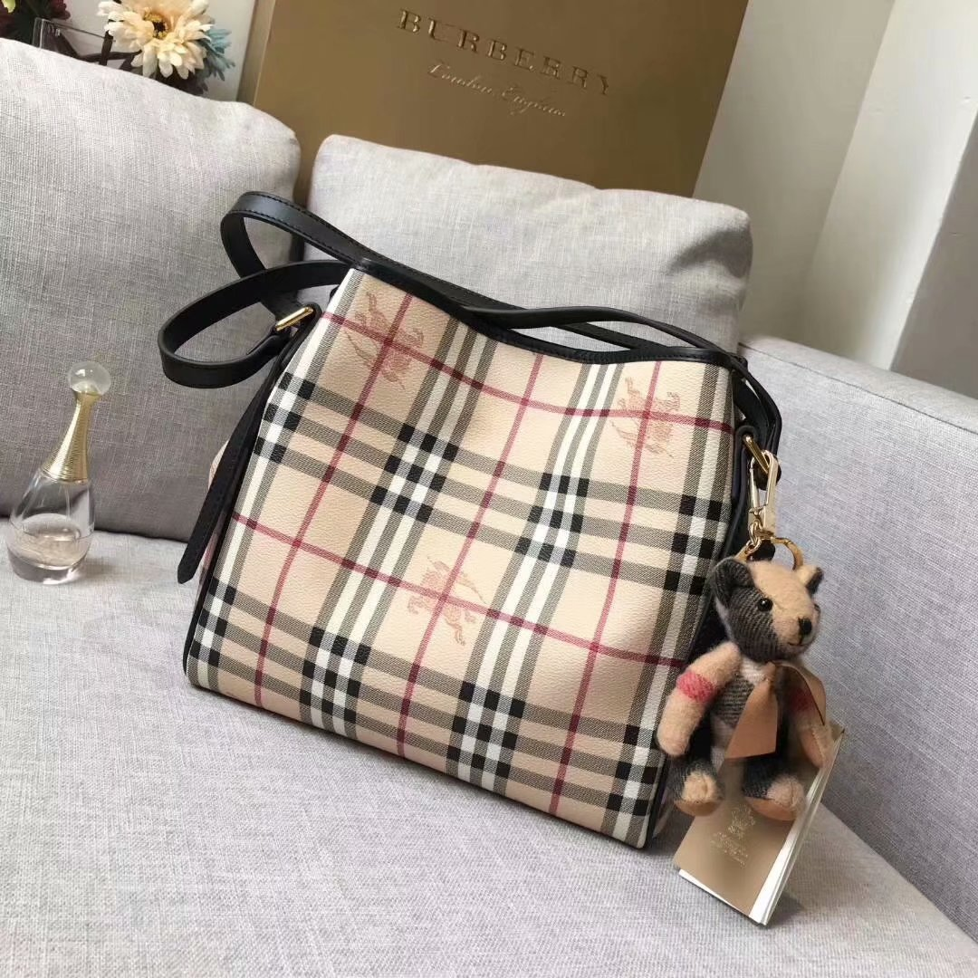 Replica Burberry Check and Leather Women Shopping Bag