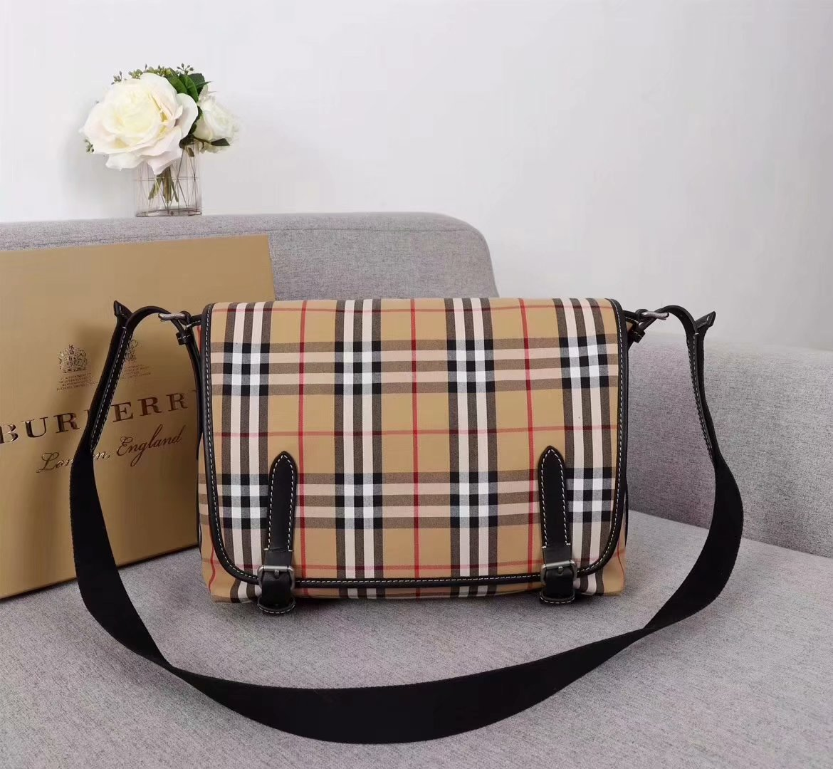 Replica Burberry Vintage Check and Leather Leather Crossbody Bag Men And Women