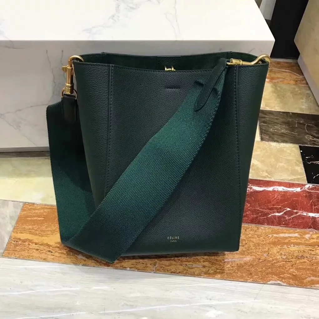 Replica Celine Seau Sangle Small Bucket Bag in Soft Grained Calfskin Green