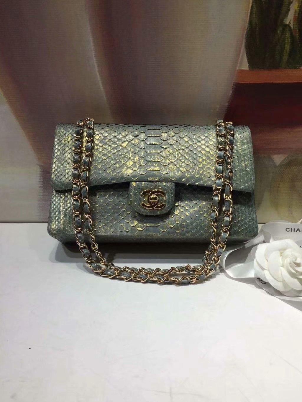 Replica Chanel A01112 Classic Handbag Blue Python Gold-Tone Metal