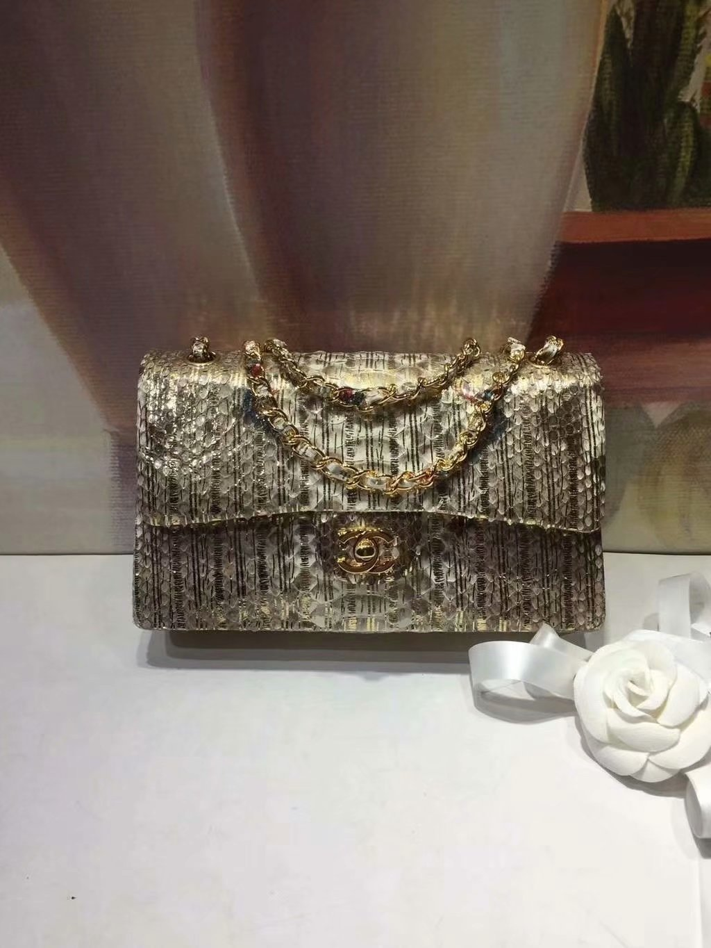 Replica Chanel A01112 Classic Handbag Gold Python Gold-Tone Metal