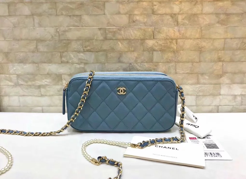 Original Copy Replica Chanel A84276 Women Clutch with Chain Blue Metallic Lambskin Imitation Pearls and Gold-Tone Metal