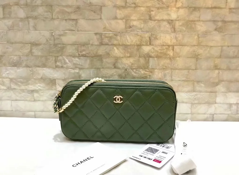 Original Copy Replica Chanel A84276 Women Clutch with Chain Green Metallic Lambskin Imitation Pearls and Gold-Tone Metal