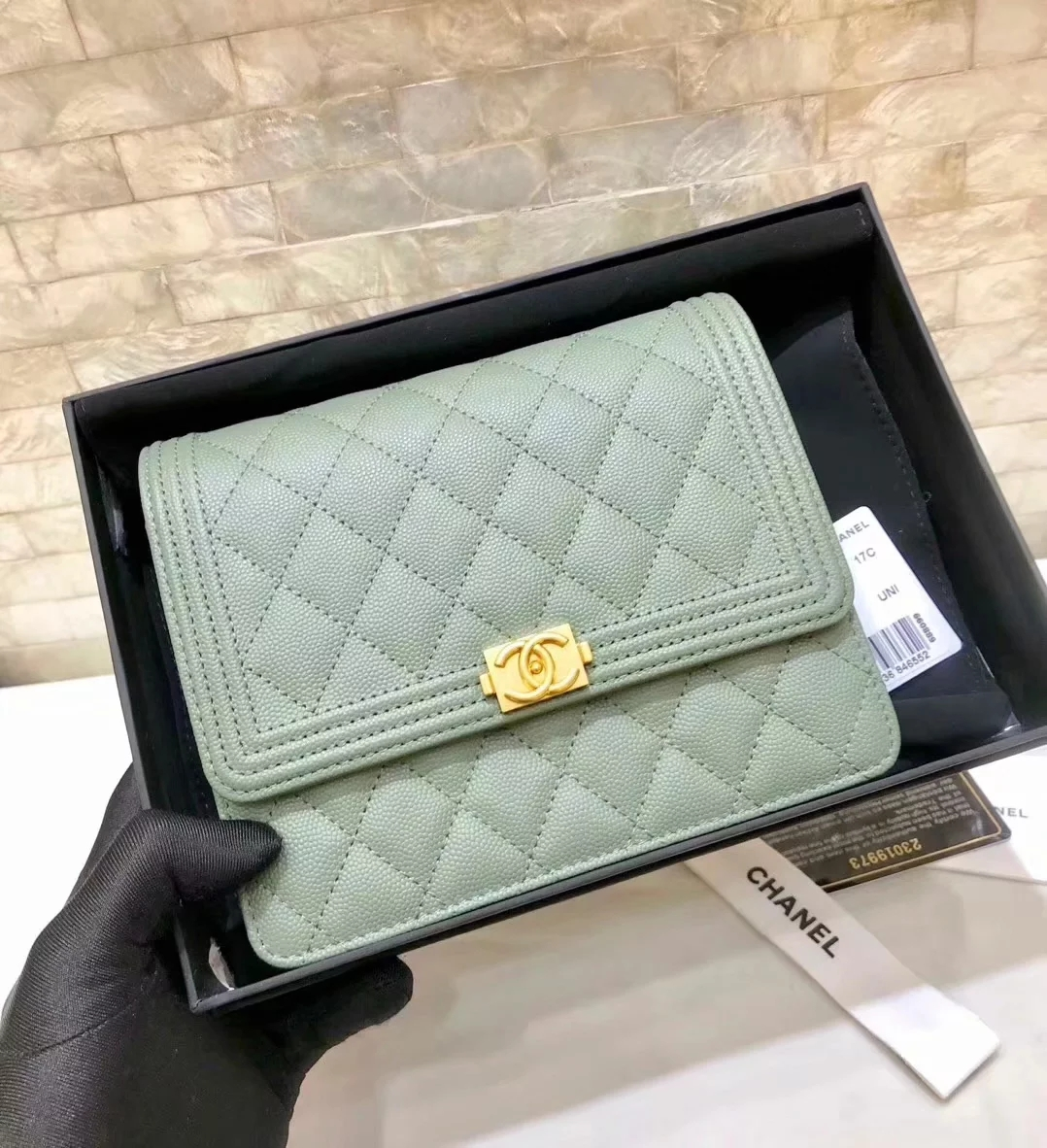 Replica Chanel A84433 BOY CHANEL Clutch with Chain Grained Calfskin Green