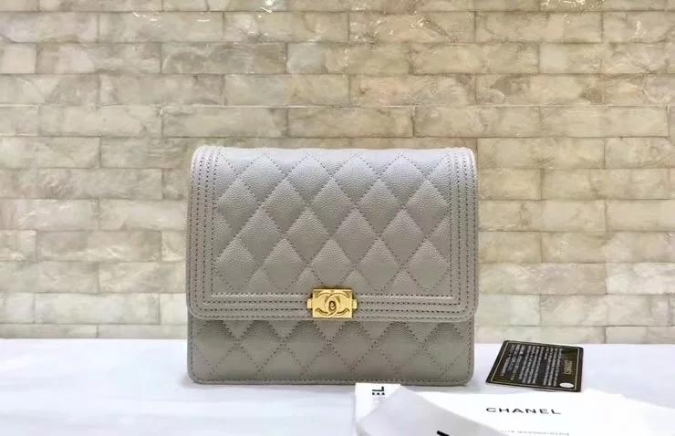 Replica Chanel A84433 BOY CHANEL Clutch with Chain Grained Calfskin Grey