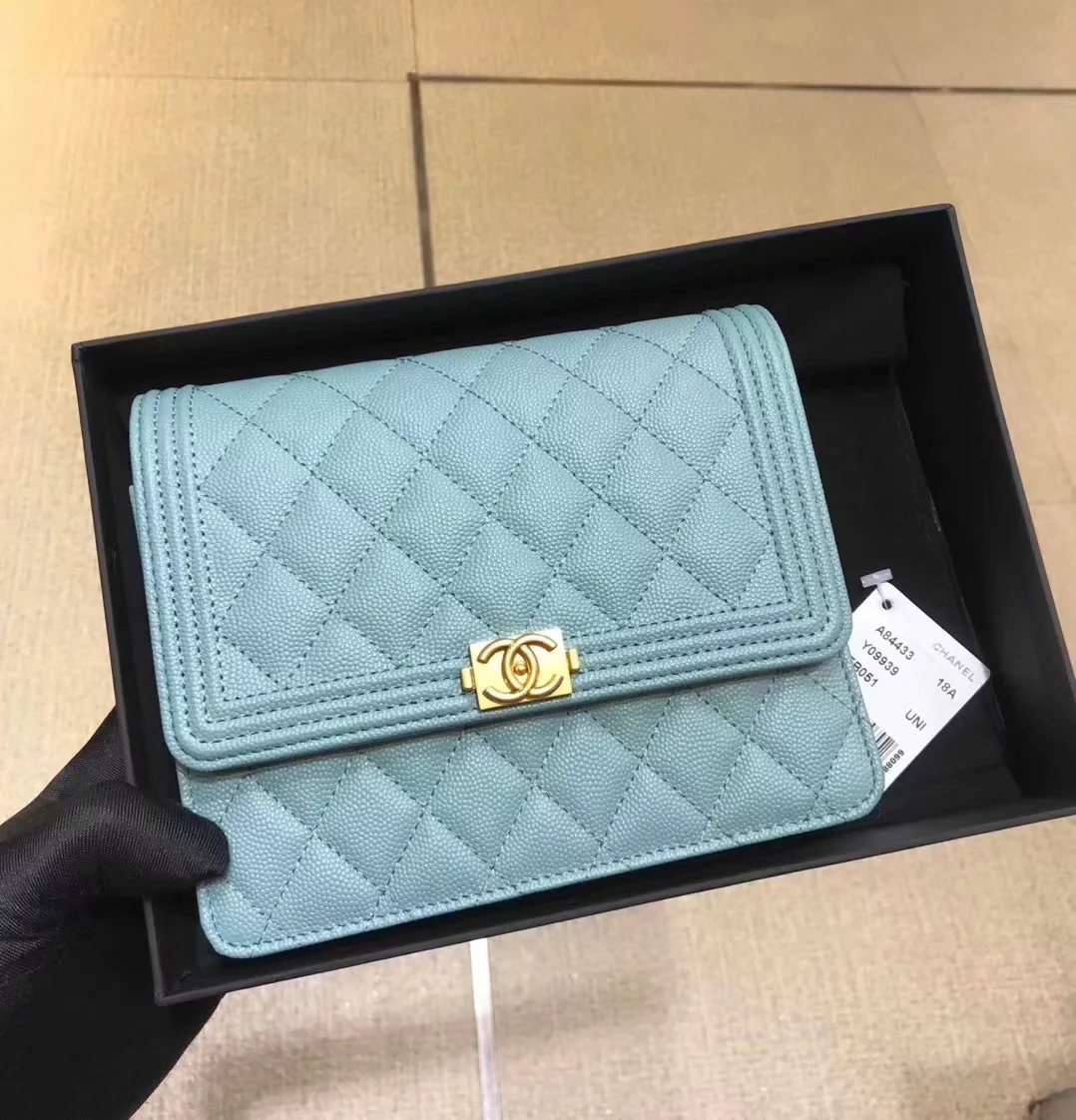 Replica Chanel A84433 BOY CHANEL Clutch with Chain Grained Calfskin Light Blue