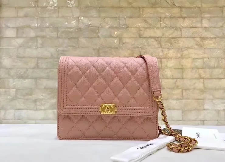Replica Chanel A84433 BOY CHANEL Clutch with Chain Grained Calfskin Pink