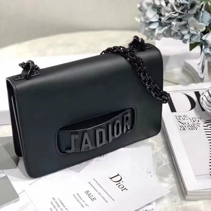 Replica Dior 2018 Mini J-Adior Flap Bag with Slot Handclasp in Off-Black Matt Calfskin