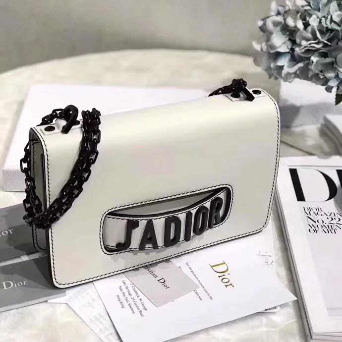 Replica Dior 2018 Mini J-Adior Flap Bag with Slot Handclasp in Off-White Matt Calfskin