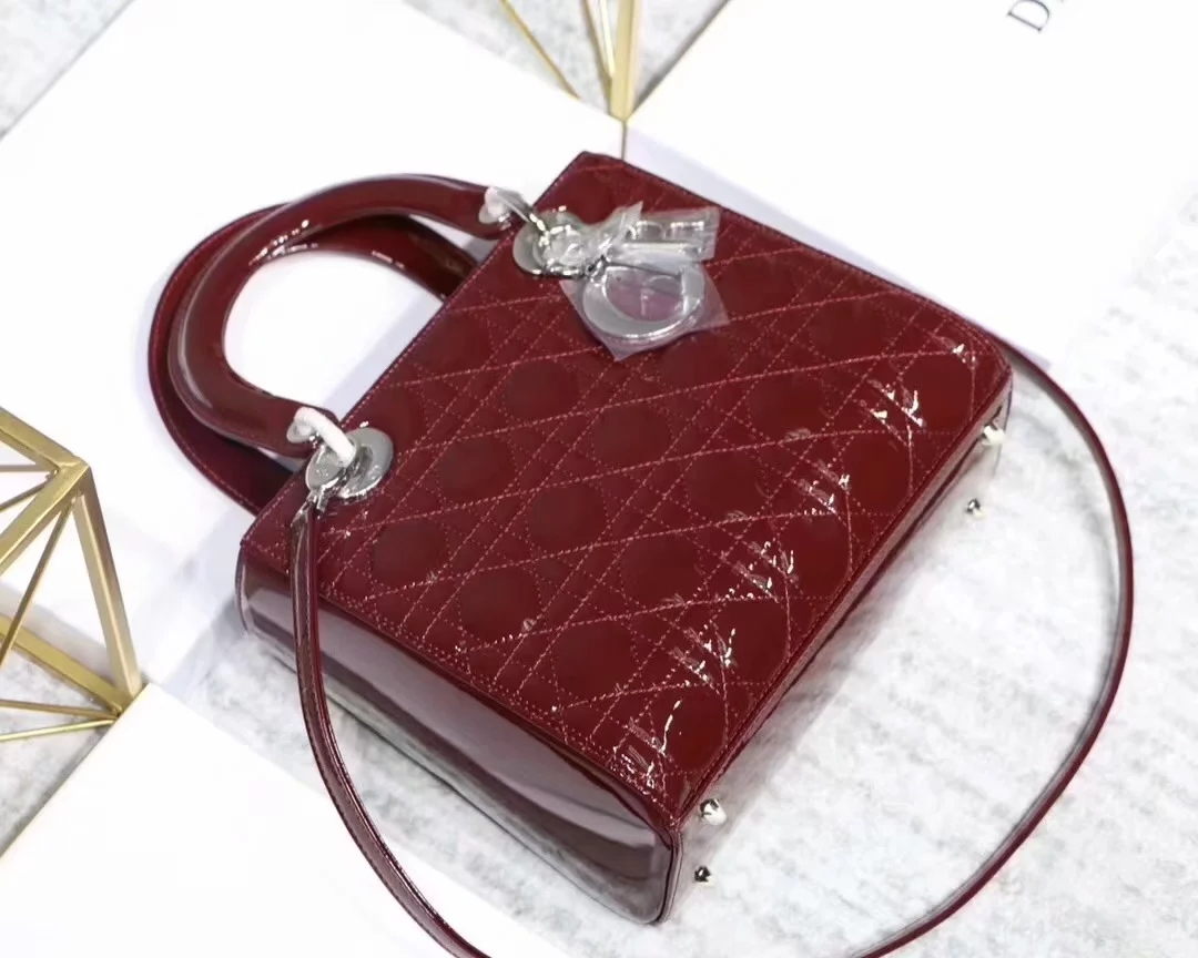 Replica Dior Lady Bag in Cherry Red Patent Cannage Calfskin Gold Silver