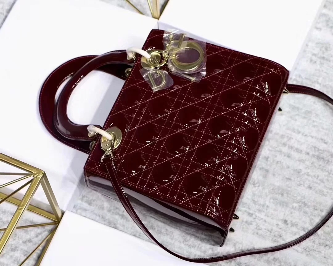 Replica Dior Lady Bag in Cherry Red Patent Cannage Calfskin Gold Tone