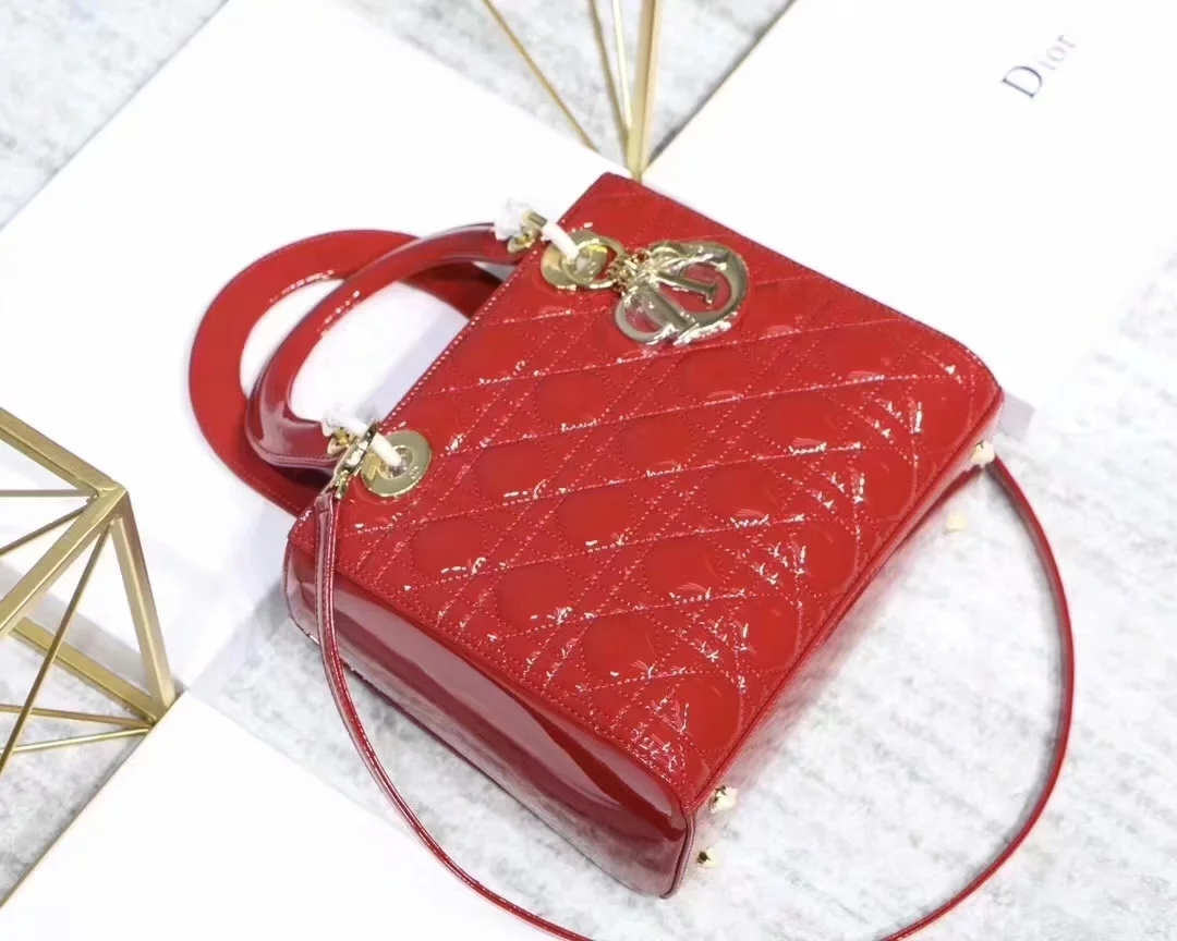 Replica Dior Lady Bag in Red Patent Cannage Calfskin Gold Tone