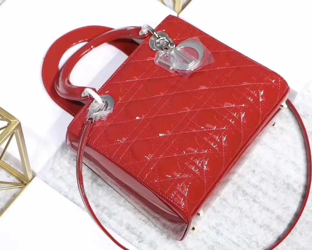 Replica Dior Lady Bag in Red Patent Cannage Calfskin Silver Tone