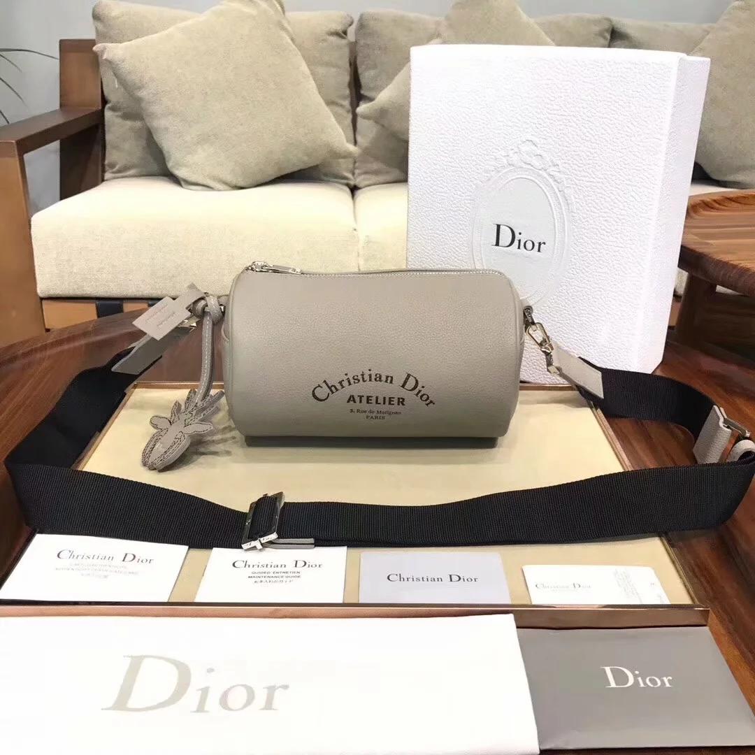 Replica Dior Roller Men Pouch in Oatmeal Grained Calfskin Beige