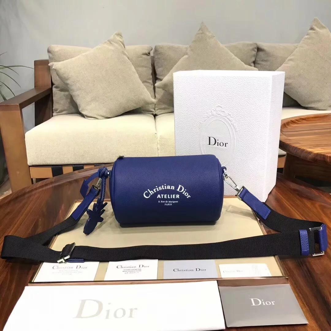 Replica Dior Roller Men Pouch in Oatmeal Grained Calfskin Blue