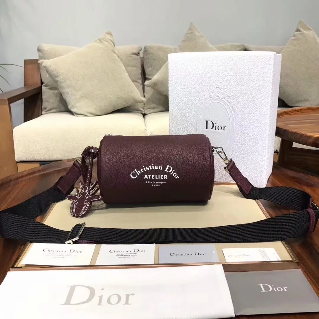 Replica Dior Roller Men Pouch in Oatmeal Grained Calfskin Burgundy