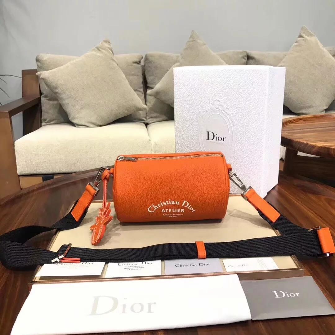 Replica Dior Roller Men Pouch in Oatmeal Grained Calfskin Orange