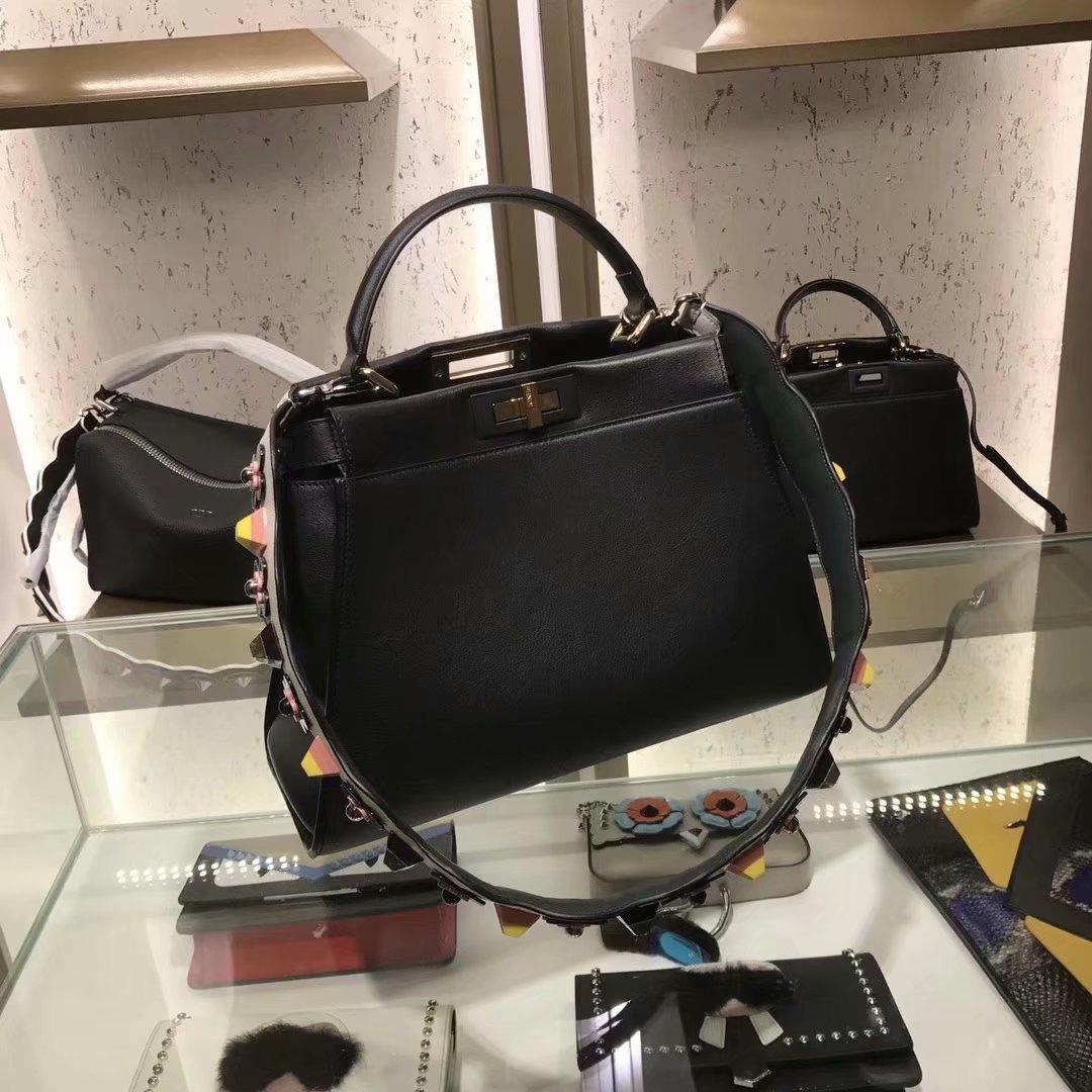 Replica Fendi Peekaboo 33cm Women Handbag Black Leather