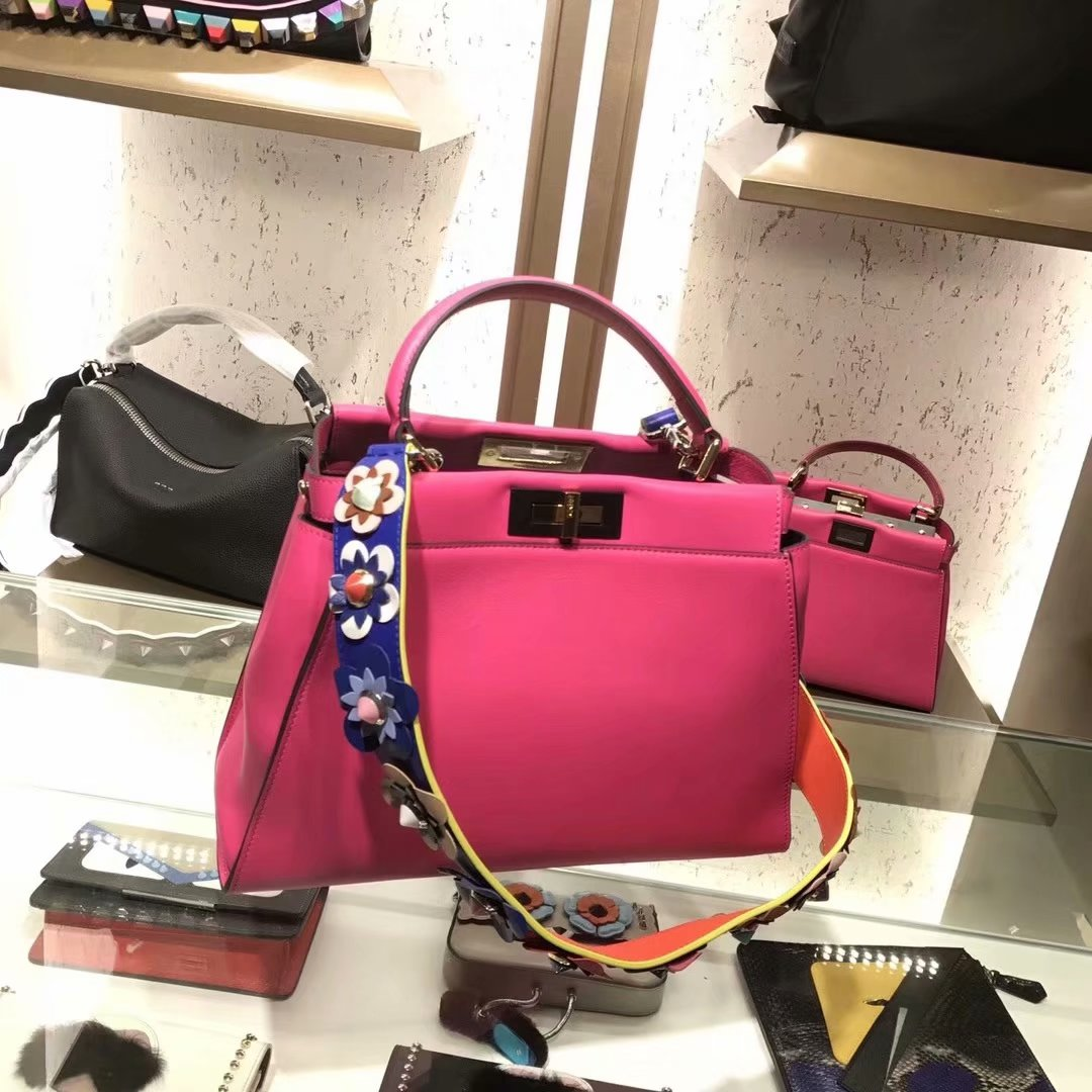 Replica Fendi Peekaboo 33cm Women Handbag Rose Leather