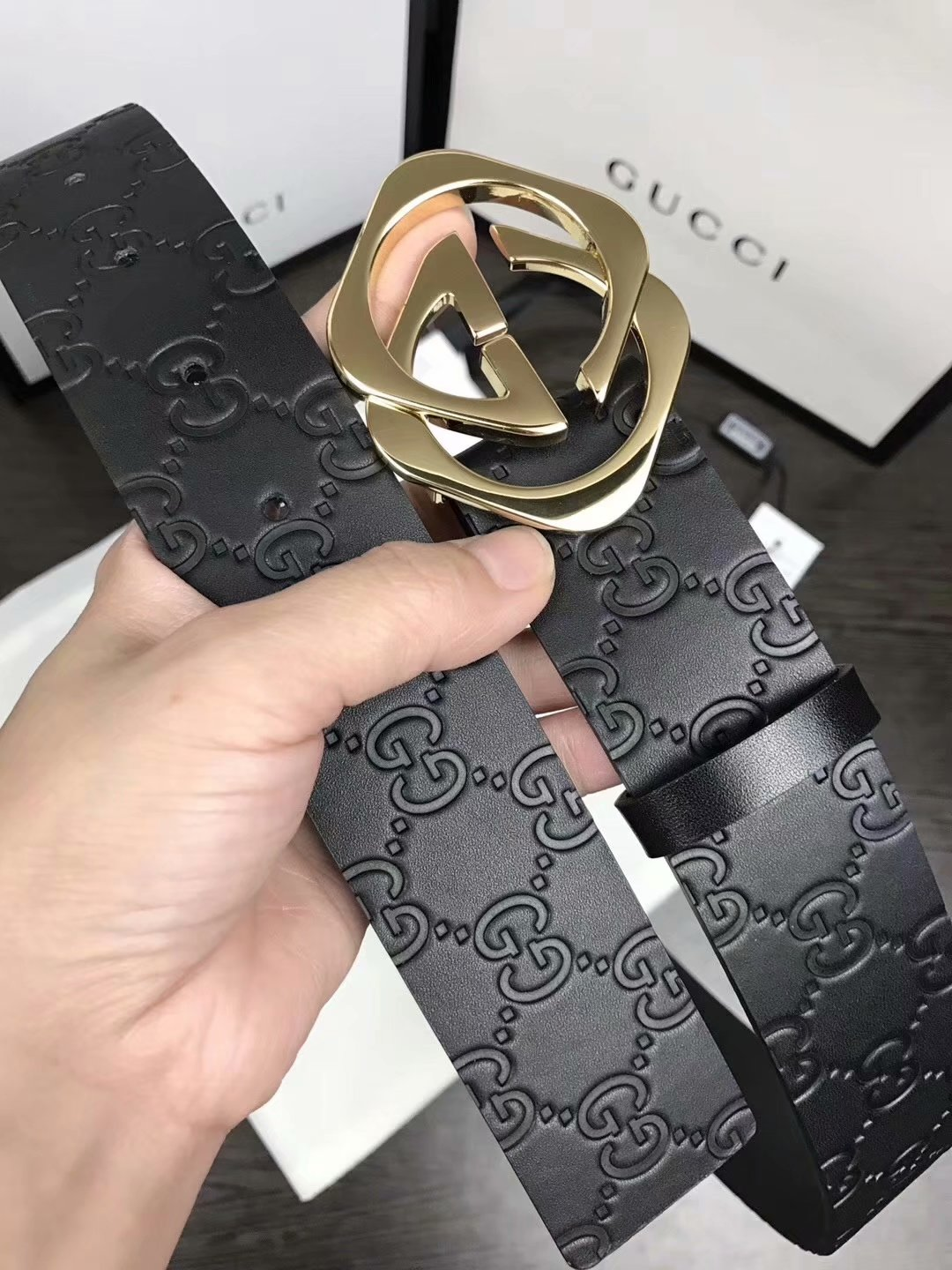 Replica Gucci Men Belt Width 3.8cm With Gold Buckle 049