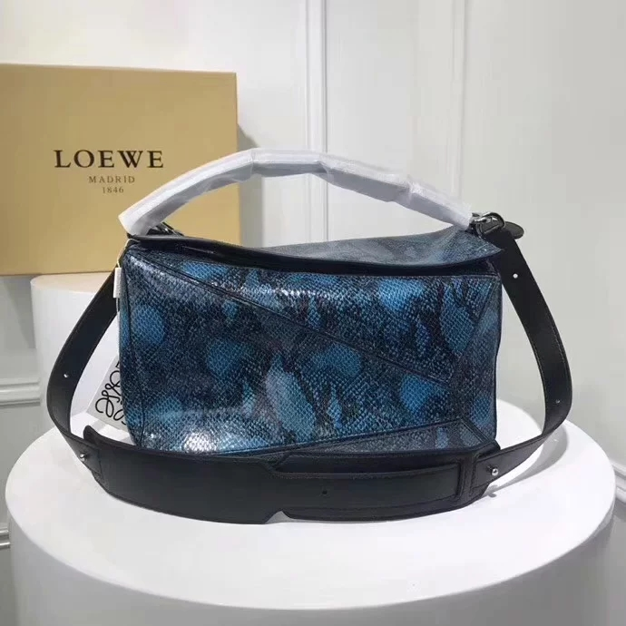 Replica Loewe Large Puzzle Bag Snake Skin Leather Blue