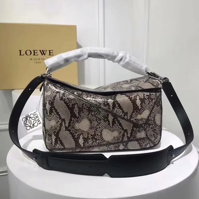 Replica Loewe Large Puzzle Bag Snake Skin Leather Grey