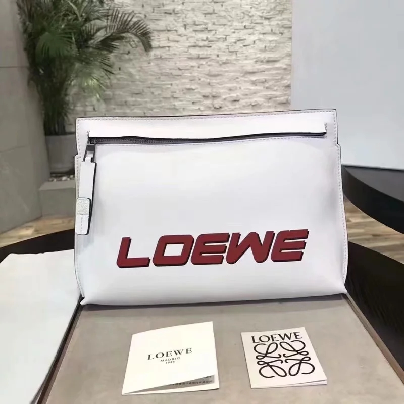 Replica Loewe Leather Women Pouch White