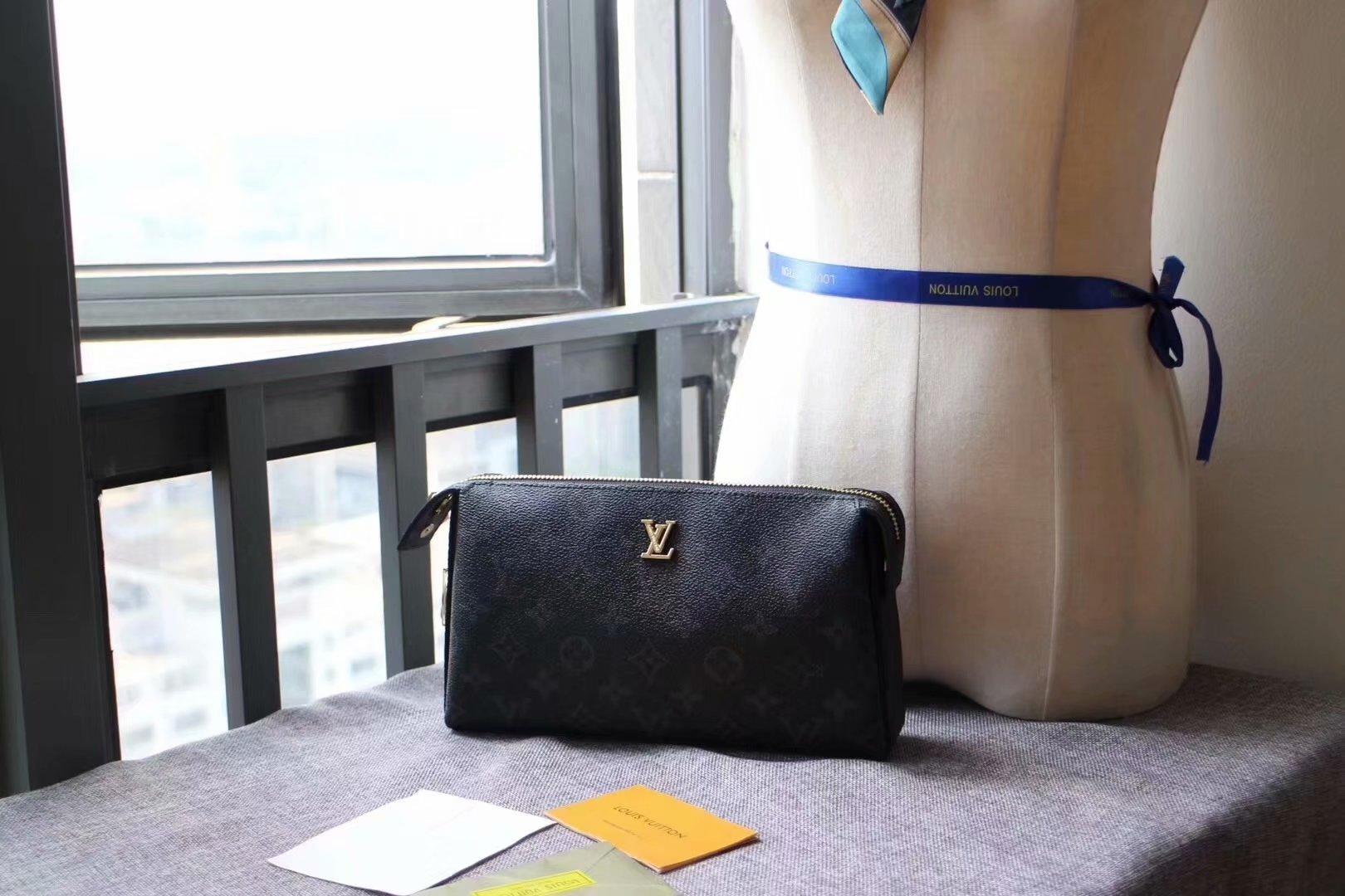 Replica Louis Vuitton M61699 Men Pouch With Lock Monogram Eclipse Canvas