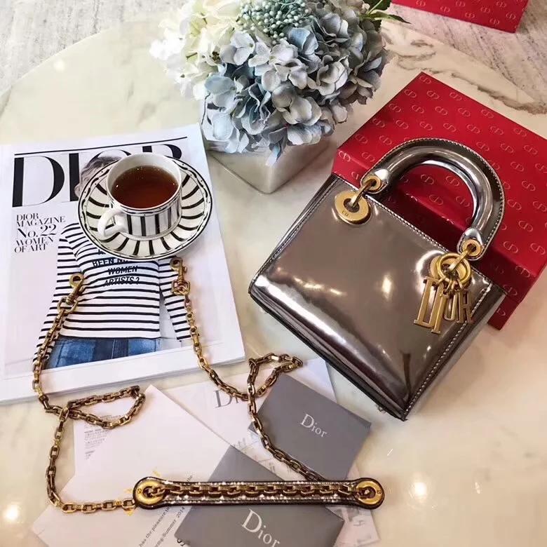 Replica Luxury Mini Lady Dior Bag With Chain In Grey Metallic Calfskn Multi Coloured