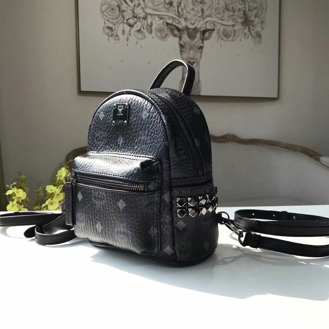 Replica MCM Stark Side Studs Mini Backpack in Visetos Soft Black
