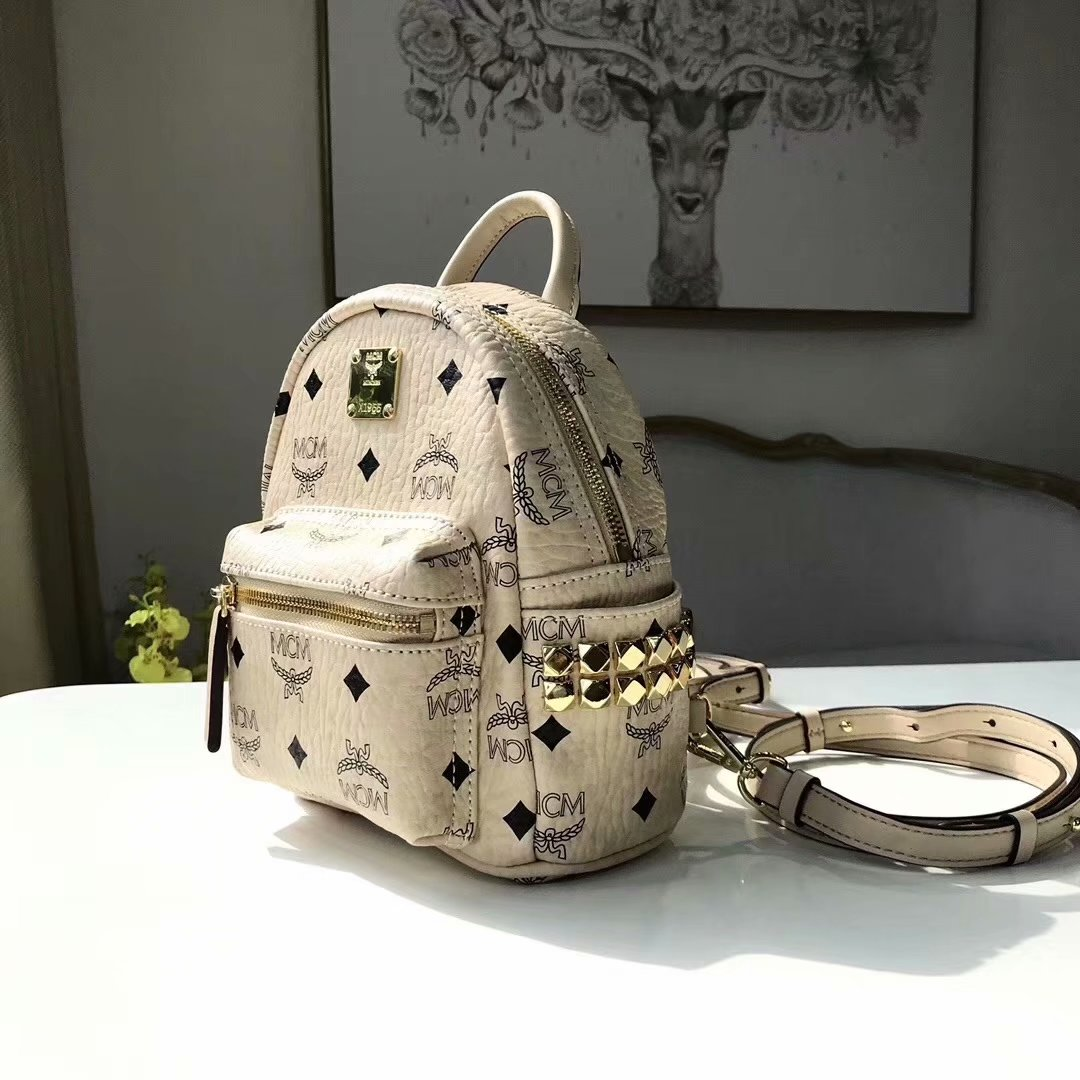 Replica MCM Stark Side Studs Mini Backpack in Visetos Soft Whtie