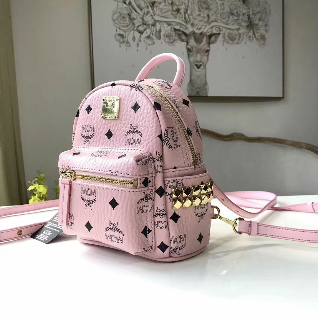 Replica MCM Stark Side Studs Mini Women Backpack in Visetos Soft Pink