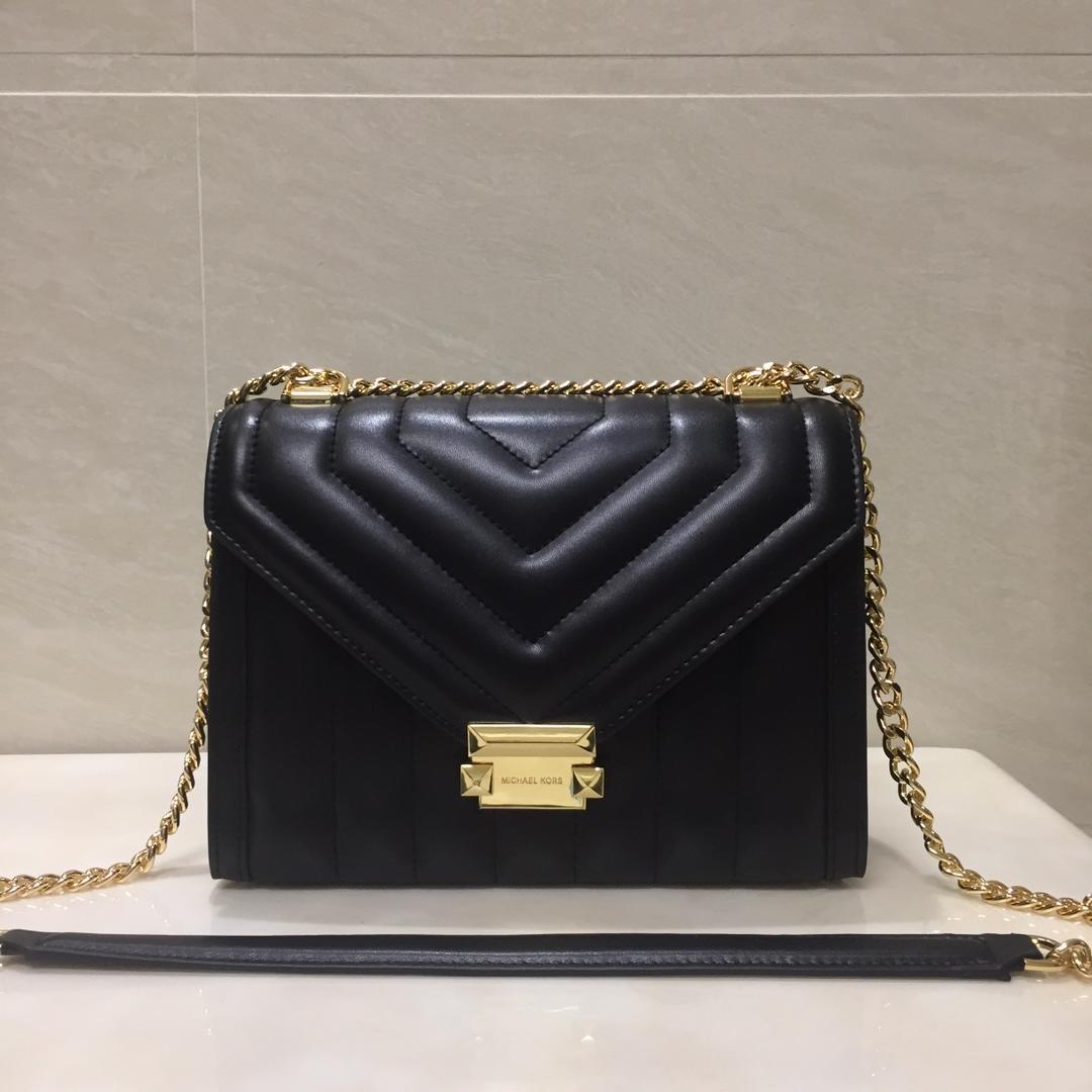 Replica Michael Kors Whitney Large Women Leather Shoulder Bag Black