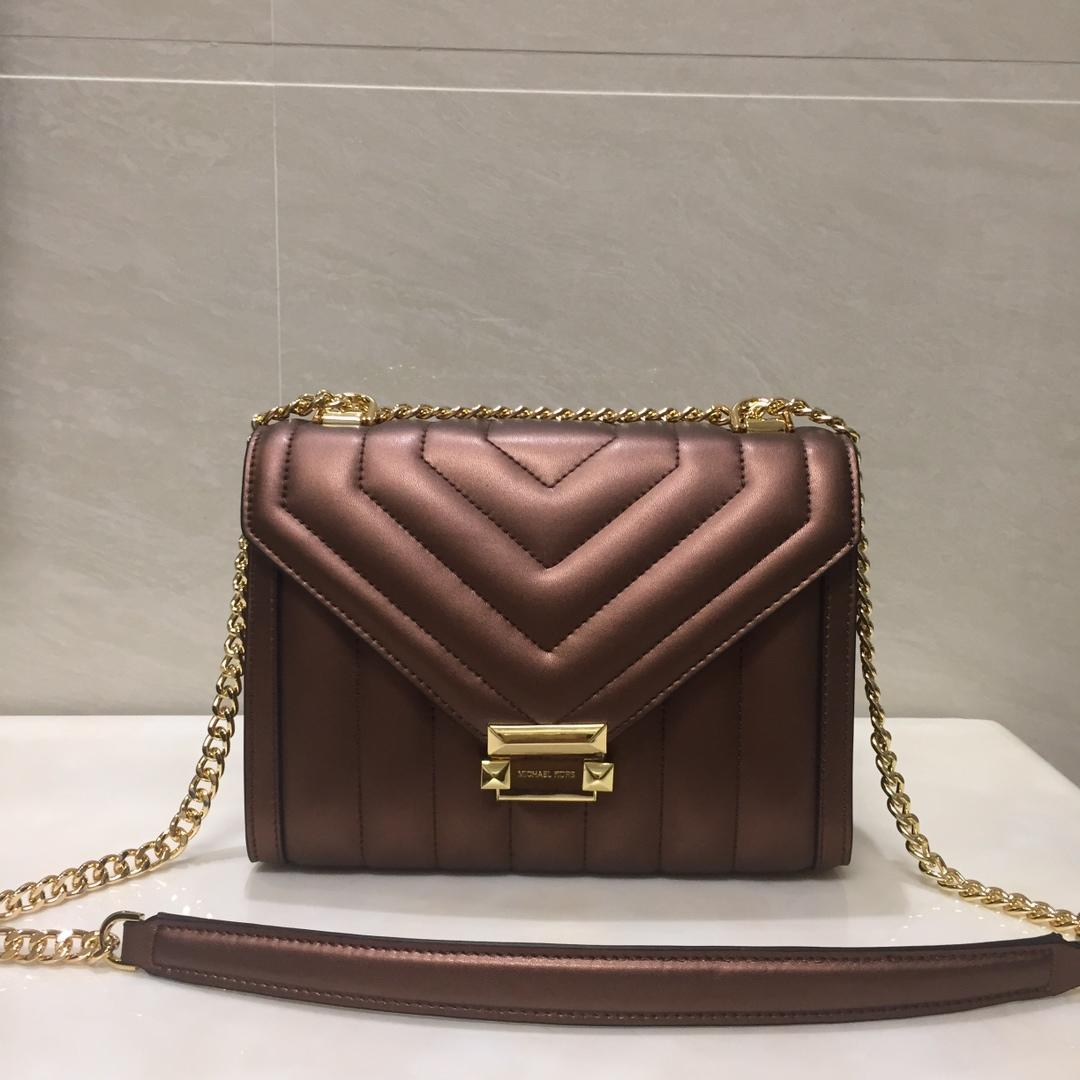 Replica Michael Kors Whitney Large Women Leather Shoulder Bag Brown Gold