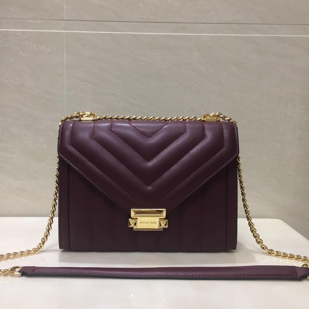 Replica Michael Kors Whitney Large Women Leather Shoulder Bag Dark Red