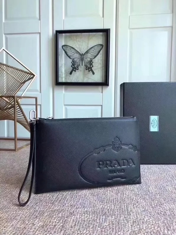 Replica Prada 2NG005 Saffiano Leather Document Holder Pouch Black