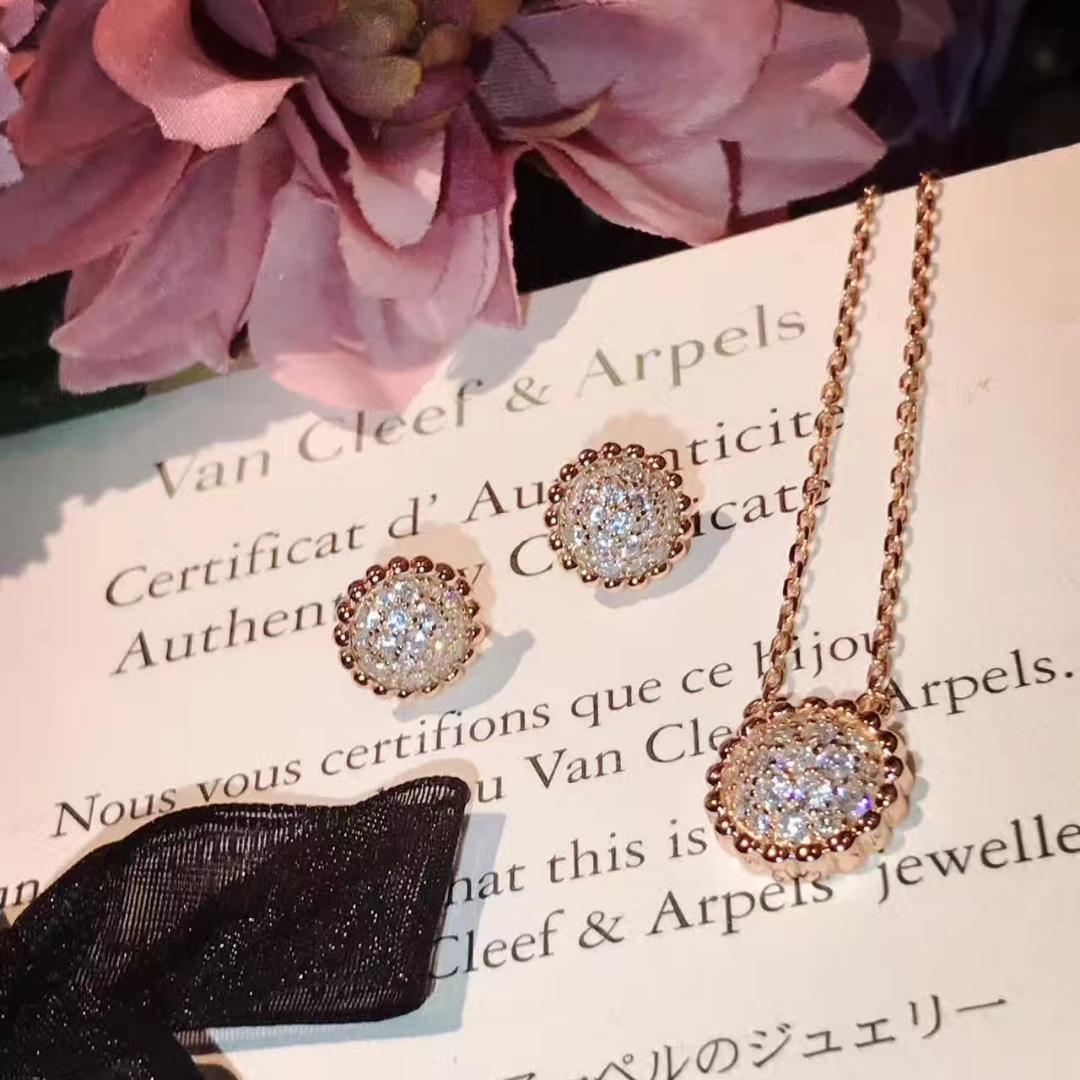 Replica Van Cleef & arpels Perlee Necklace and Earring With Diamonds 001