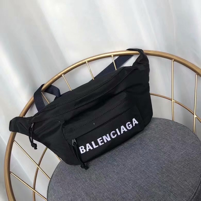 Top Quality Balenciaga Women Wheel Belt Pack Black With White Logo