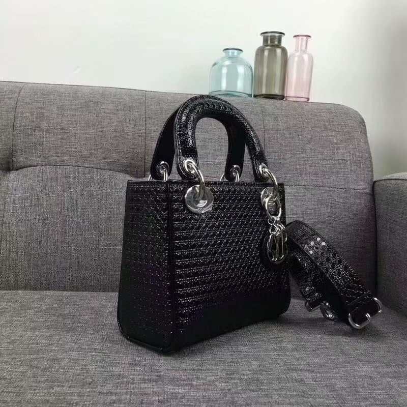 Top Quality Dior Lady Mini Bag Black Lather Handbag
