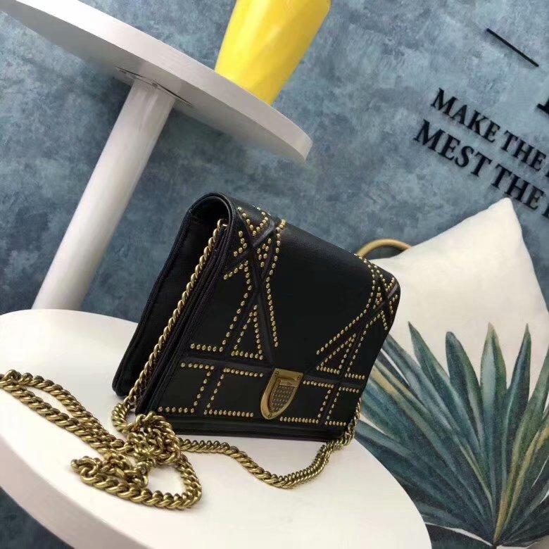 Top Quality Dior M900 Diorama Flap Bag in Black Studded Lambskin
