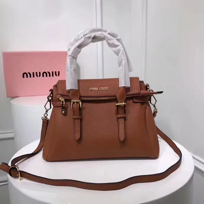 Top Quality MiuMiu 2370 Women Leather Handbag Dilute Brown