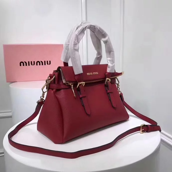 Top Quality MiuMiu 2370 Women Leather Handbag Red