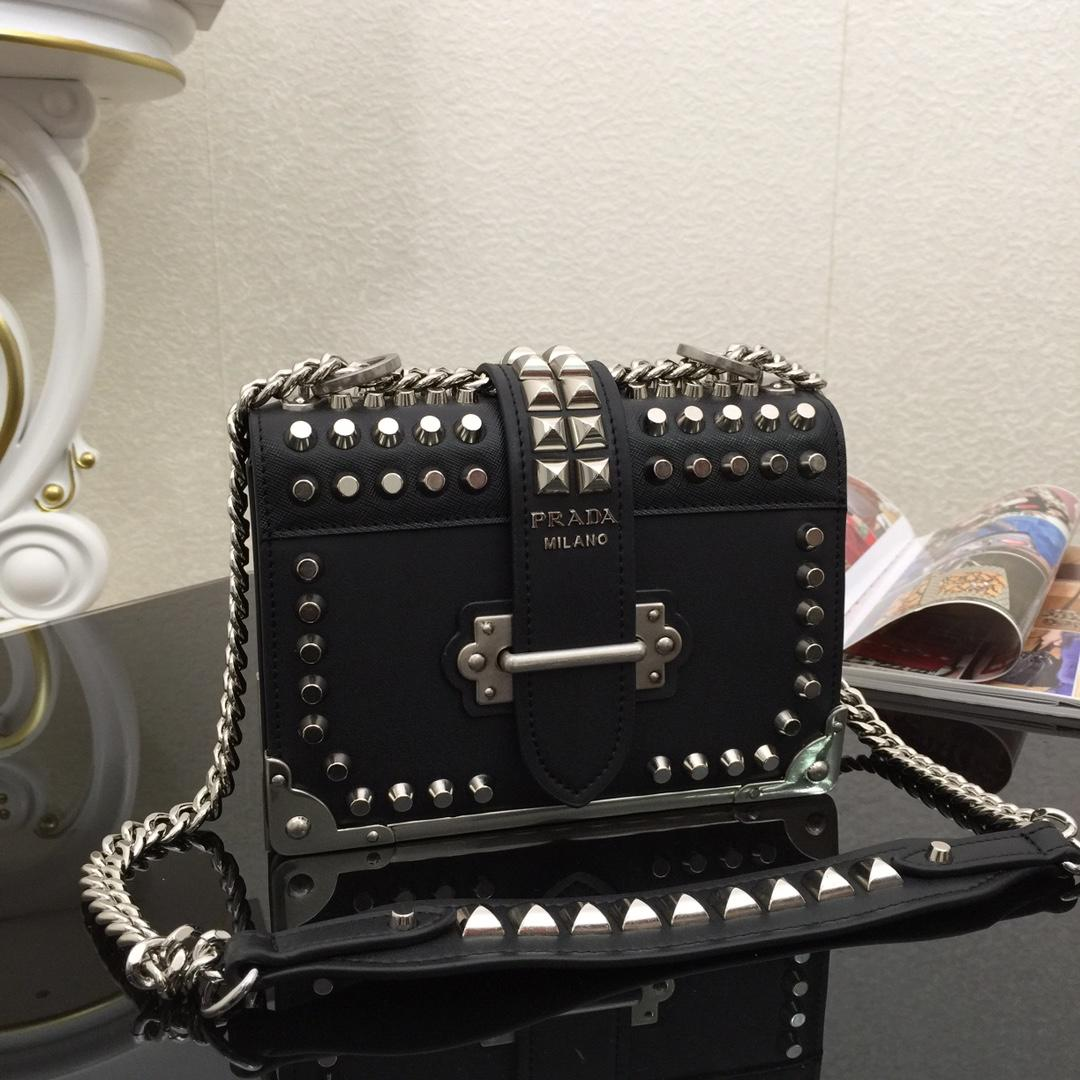 Top Quality Prada 1BD045 Cahier Studded Women Leather Bag Black