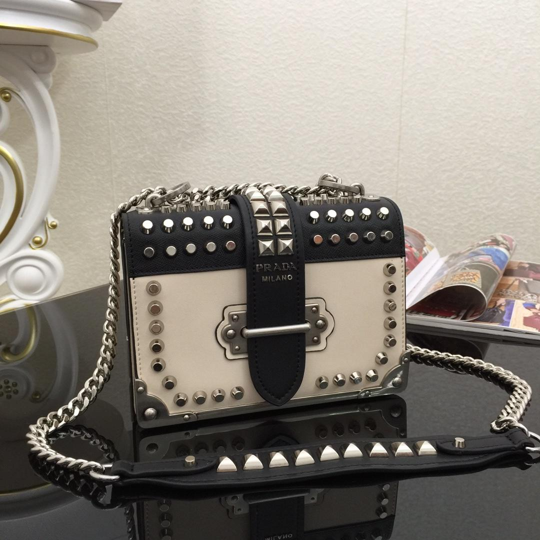 Top Quality Prada 1BD045 Cahier Studded Women Leather Bag White