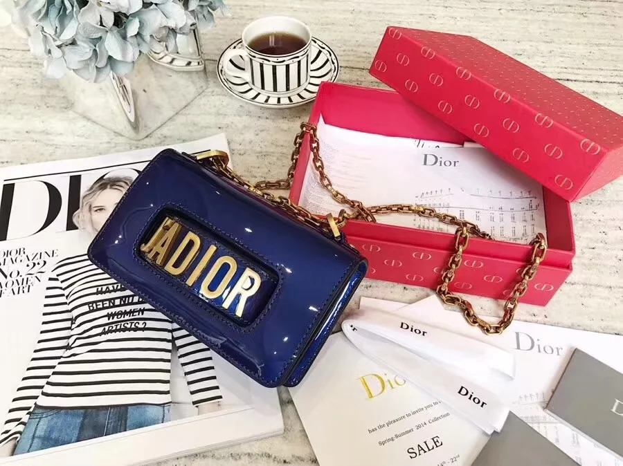 Top Replica Dior Mini J-adior Flap Bag in Blue Metallic Calfskin